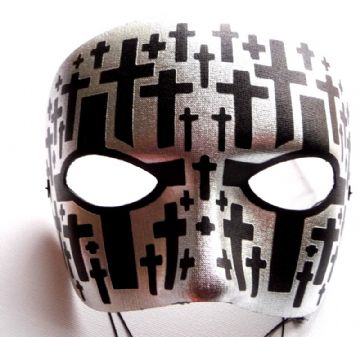 Black & Silver Goth Metallic Mask (1)